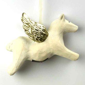 Hest med vinger af guld fra Keramikkat.